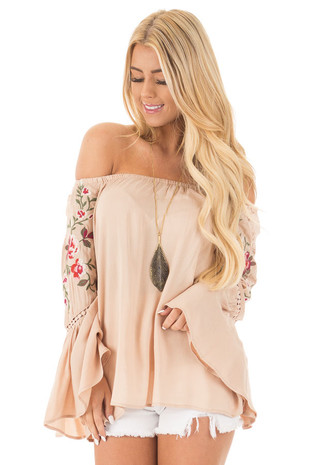 Desert Tan Embroidered Off the Shoulder Top front close up