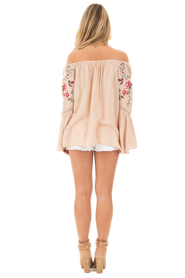 Desert Tan Embroidered Off the Shoulder Top back full body