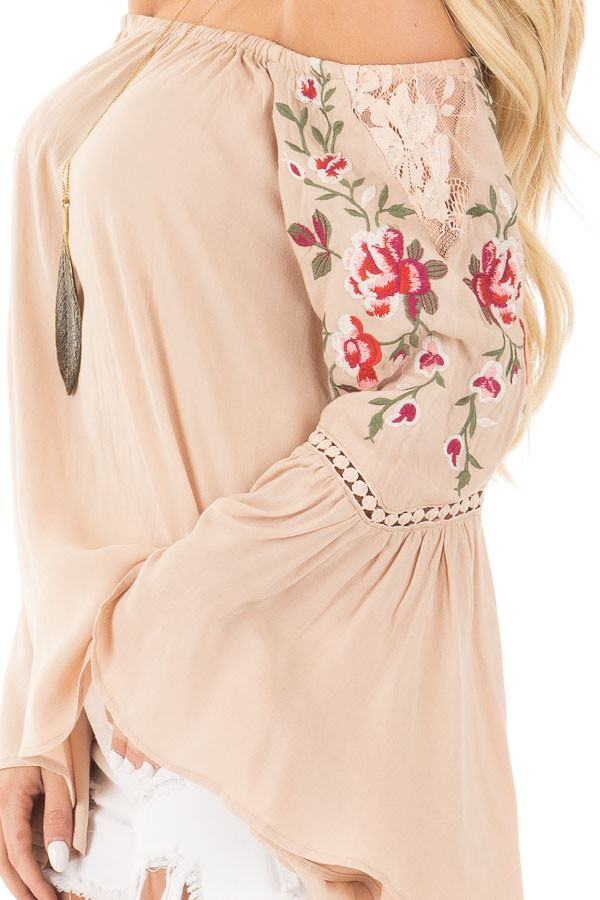 Desert Tan Embroidered Off the Shoulder Top detail