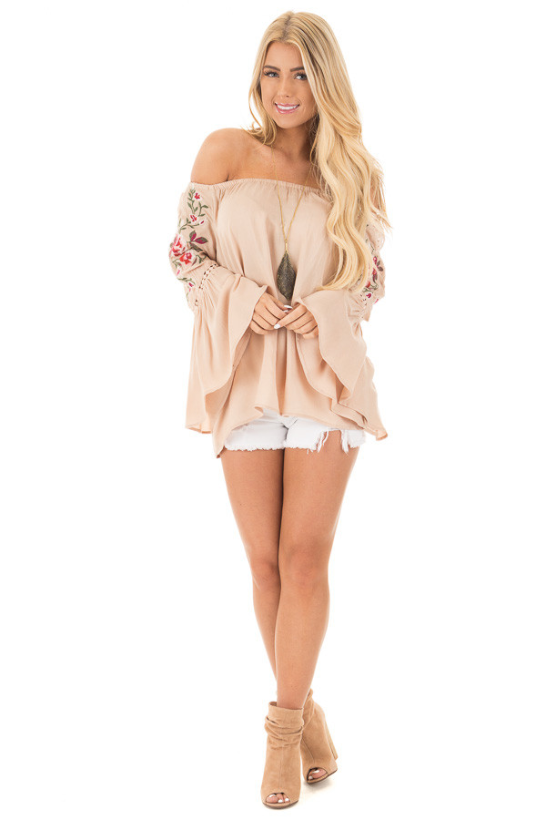 Desert Tan Embroidered Off the Shoulder Top front full body