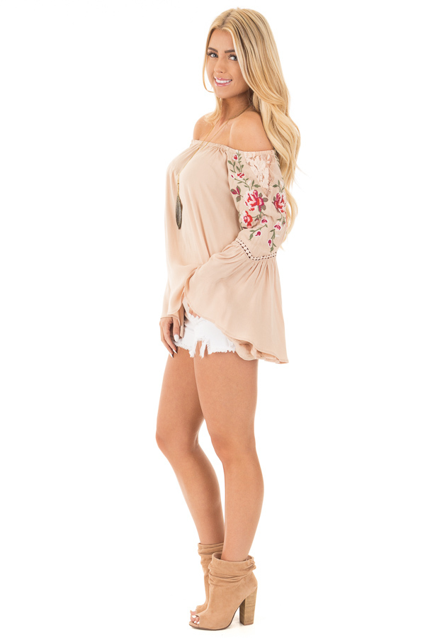 Desert Tan Embroidered Off the Shoulder Top side full body