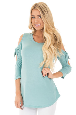 Dusty Blue Cold Shoulder Open Sleeve Top with Tie Details front close up