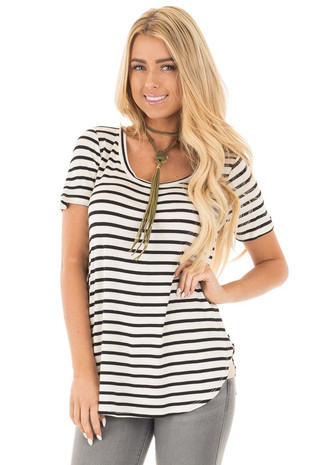 Ivory Striped Scoop Neckline and Side Slits Top front close up