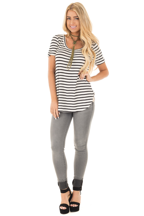 Ivory Striped Scoop Neckline and Side Slits Top front full body