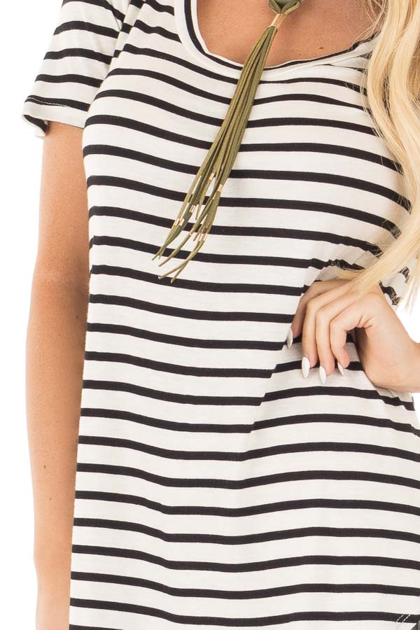 Ivory Striped Scoop Neckline and Side Slits Top detail