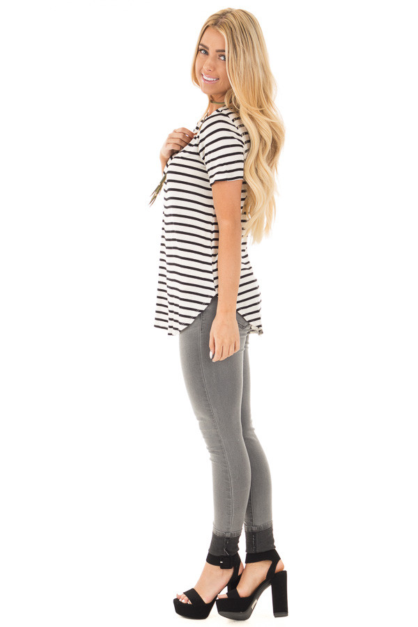 Ivory Striped Scoop Neckline and Side Slits Top side full body