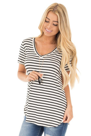 Ivory Striped V Neck Top with Side Slits front close up