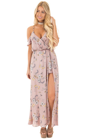 Mauve Floral Silky Cold Shoulder Strappy Maxi Dress front full body