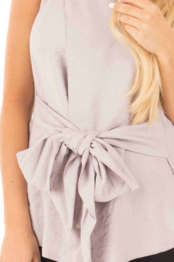 Misty Grey Sleeveless Front Tie Peplum Top with Overlap detail