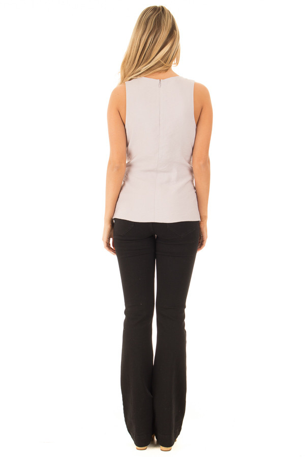 Misty Grey Sleeveless Front Tie Peplum Top with Overlap back full body