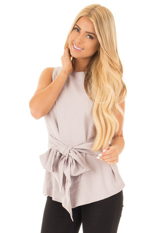 Misty Grey Sleeveless Front Tie Peplum Top with Overlap front close up