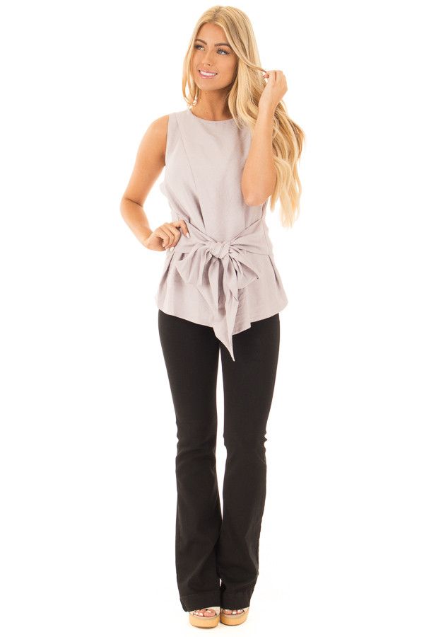 Misty Grey Sleeveless Front Tie Peplum Top with Overlap front full body