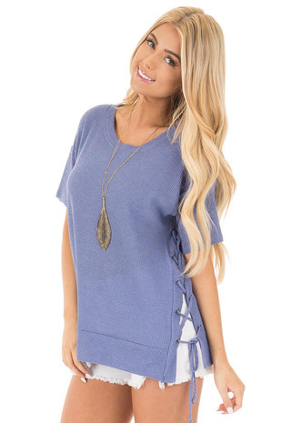 Slate Blue Waffle Knit Short Sleeve Top with Lace Up Sides front close up