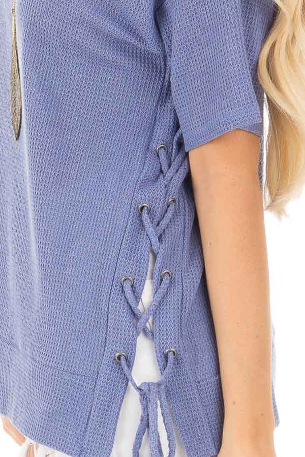 Slate Blue Waffle Knit Short Sleeve Top with Lace Up Sides detail