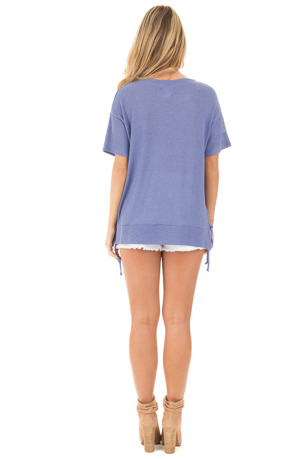 Slate Blue Waffle Knit Short Sleeve Top with Lace Up Sides back full body