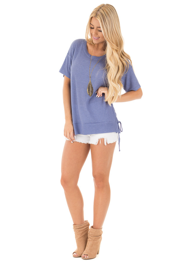 Slate Blue Waffle Knit Short Sleeve Top with Lace Up Sides front full body