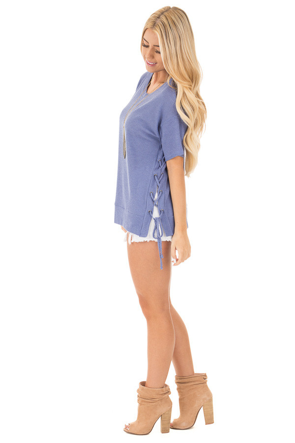 Slate Blue Waffle Knit Short Sleeve Top with Lace Up Sides side full body