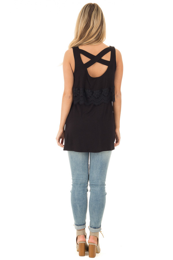 Black Lace Detail Sleeveless Top with Cross Back Detail back full body