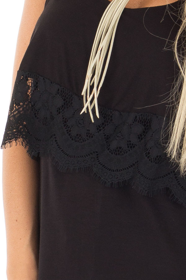 Black Lace Detail Sleeveless Top with Cross Back Detail detail