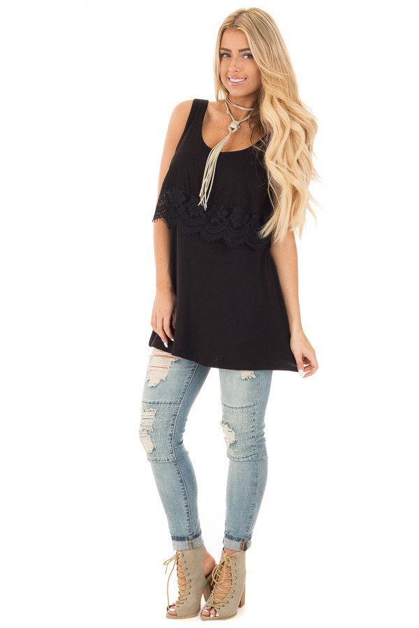 Black Lace Detail Sleeveless Top with Cross Back Detail front full body