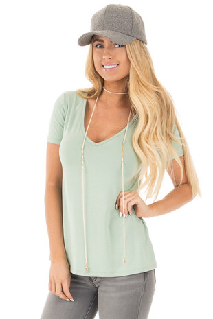 Sage Loose Fit V Neck Tee front close up