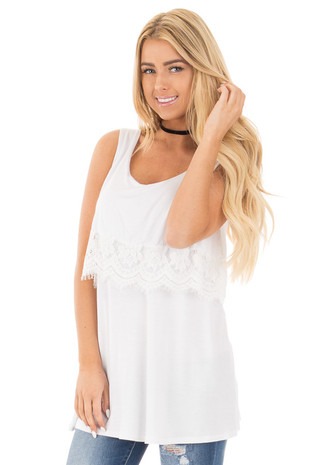 White Lace Detail Sleeveless Top with Cross Back Detail front close up