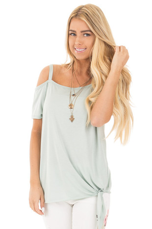 Sage Tie Front Top with Off Shoulder Strap and Raw Hem front close up
