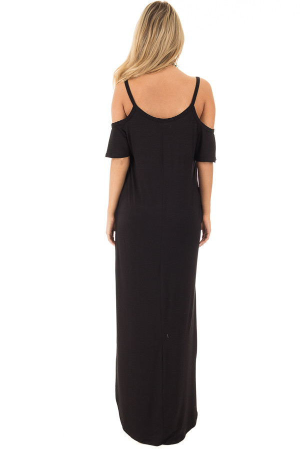 Black Cold Shoulder Strappy Maxi Dress with Side Pockets back full body