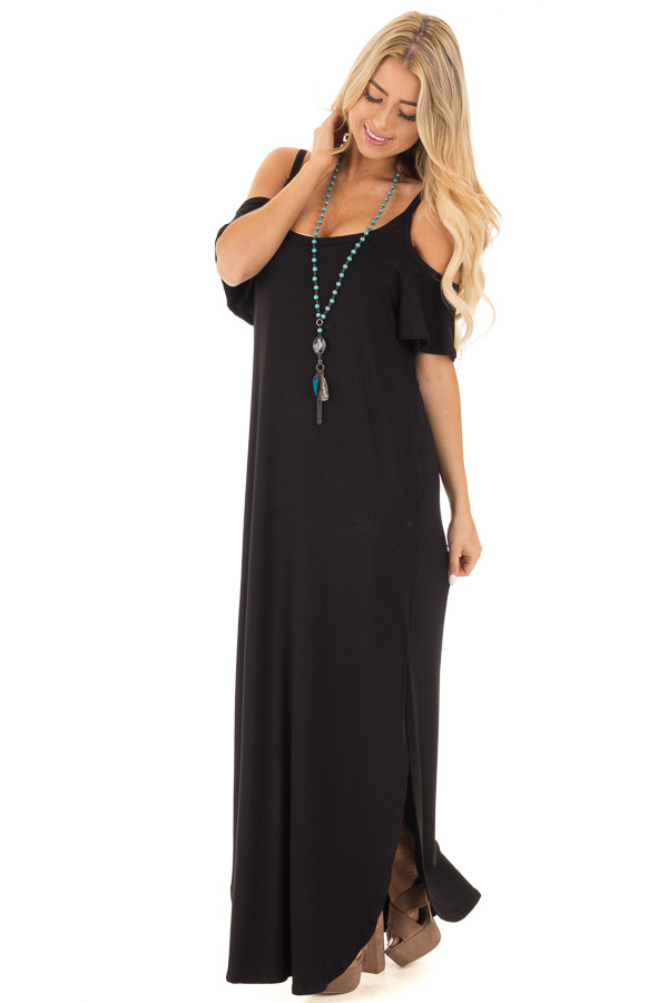 Black Cold Shoulder Strappy Maxi Dress with Side Pockets front full body