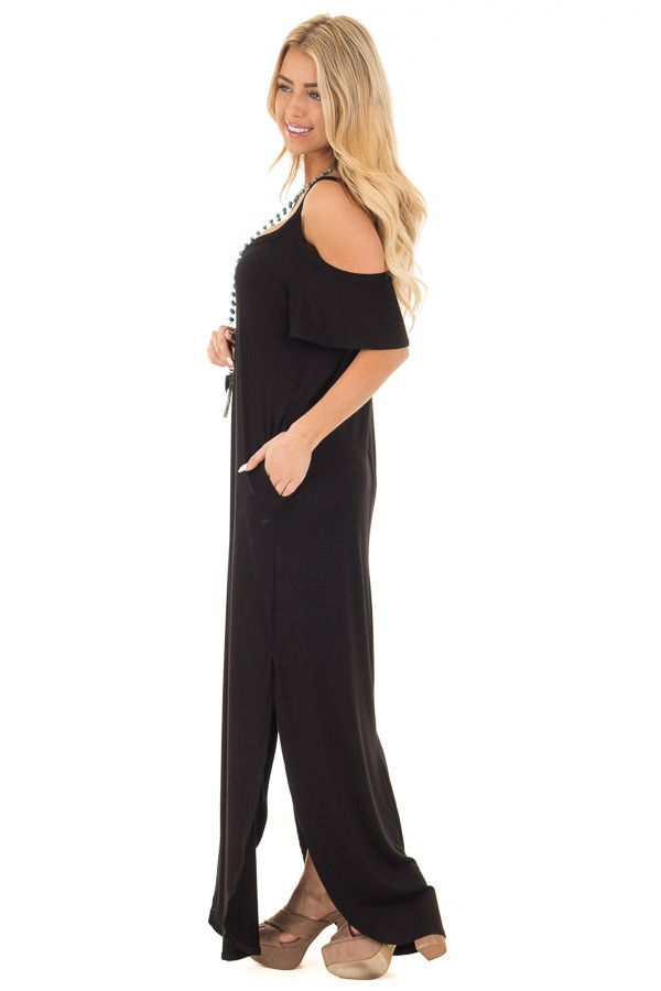 Black Cold Shoulder Strappy Maxi Dress with Side Pockets side full body