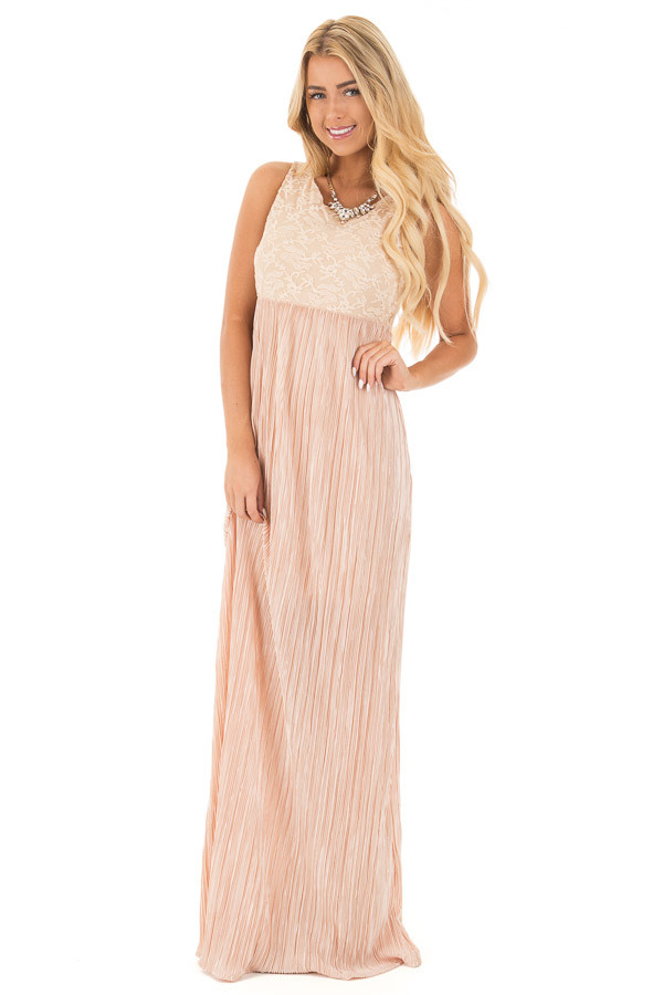 Light Peach Laced Bodice Maxi Dress front full body
