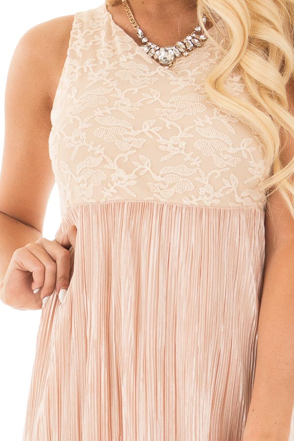 Light Peach Laced Bodice Maxi Dress detail