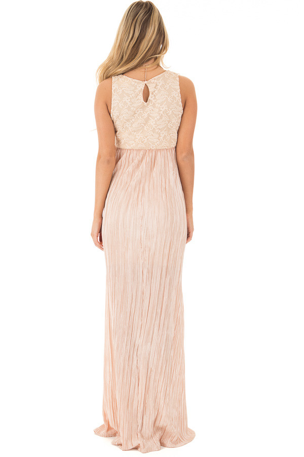 Light Peach Laced Bodice Maxi Dress back full body