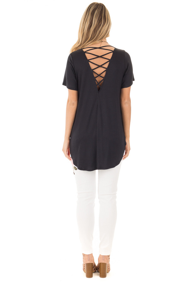 Black Short Sleeve Top with Criss Cross Back and Rounded Hem back full body