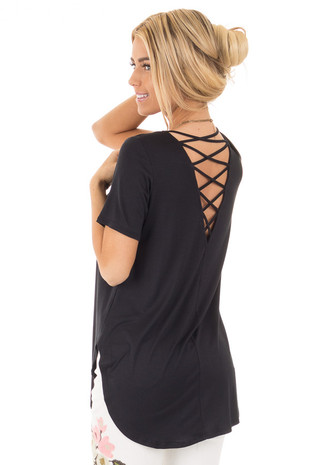 Black Short Sleeve Top with Criss Cross Back and Rounded Hem back side close up
