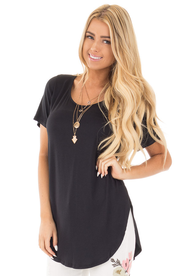 Black Short Sleeve Top with Criss Cross Back and Rounded Hem front close up