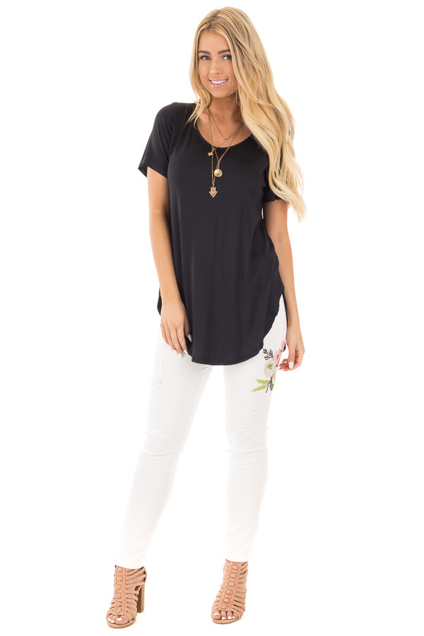 Black Short Sleeve Top with Criss Cross Back and Rounded Hem front full body