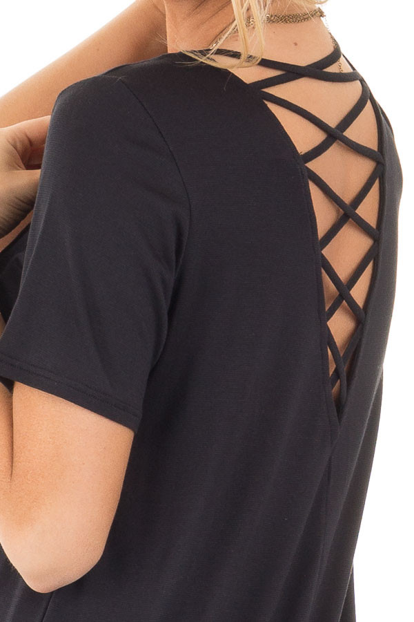 Black Short Sleeve Top with Criss Cross Back and Rounded Hem detail