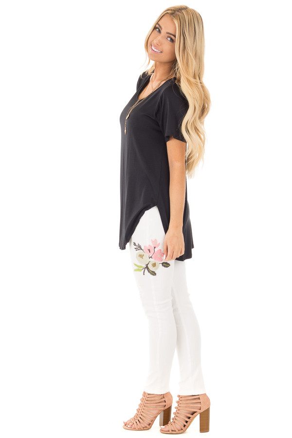 Black Short Sleeve Top with Criss Cross Back and Rounded Hem side full body