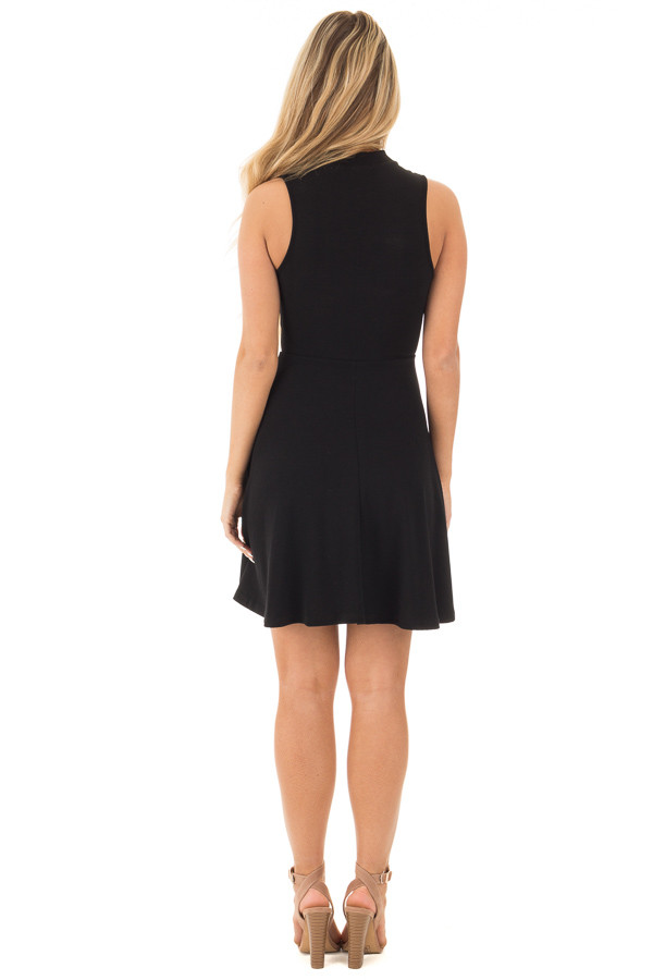 Black Ribbed Knit A Line Sleeveless Dress with Mock Neck Detail back full body