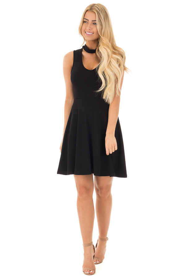 Black Ribbed Knit A Line Sleeveless Dress with Mock Neck Detail front full body