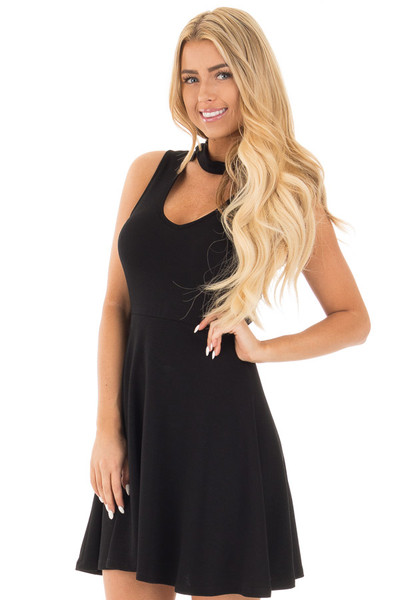 Black Ribbed Knit A Line Sleeveless Dress with Mock Neck Detail front close up