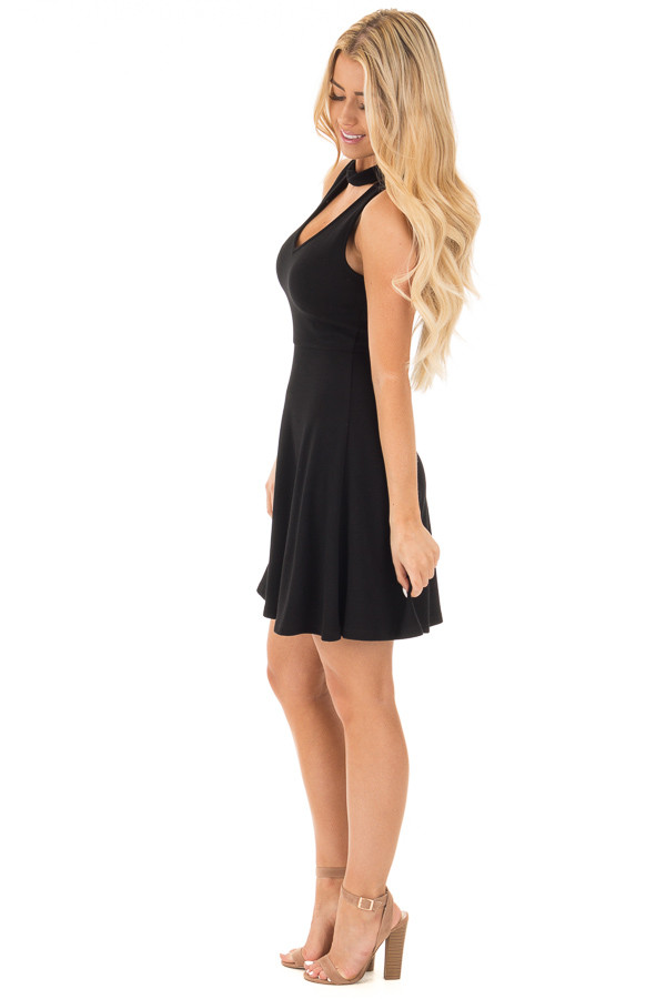 Black Ribbed Knit A Line Sleeveless Dress with Mock Neck Detail side full body
