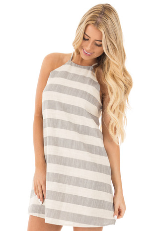 Grey and Oatmeal Striped Halter Dress with Keyhole Back front close up