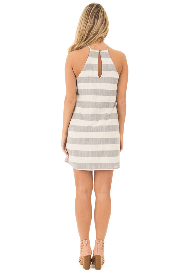 Grey and Oatmeal Striped Halter Dress with Keyhole Back back full body