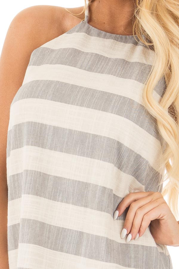 Grey and Oatmeal Striped Halter Dress with Keyhole Back detail