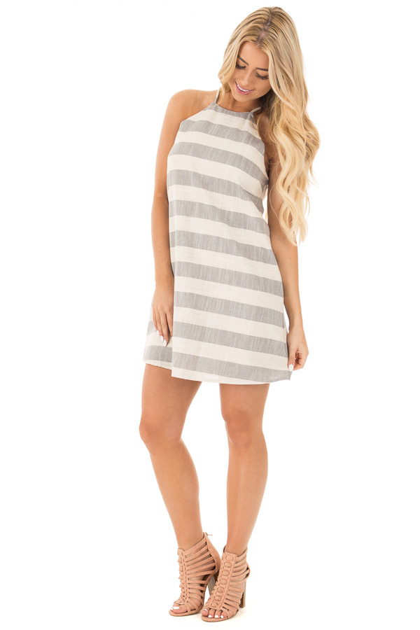 Grey and Oatmeal Striped Halter Dress with Keyhole Back front full body