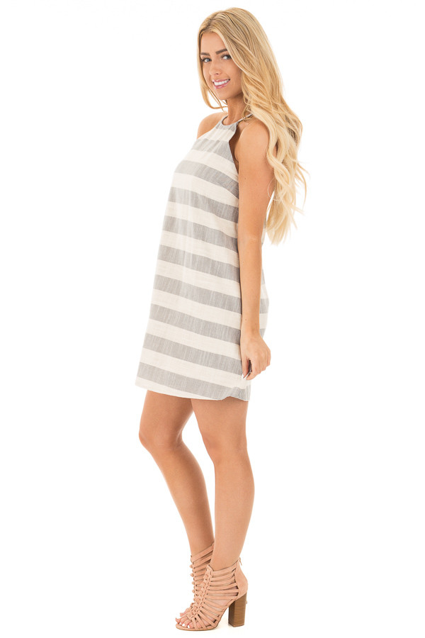 Grey and Oatmeal Striped Halter Dress with Keyhole Back side full body