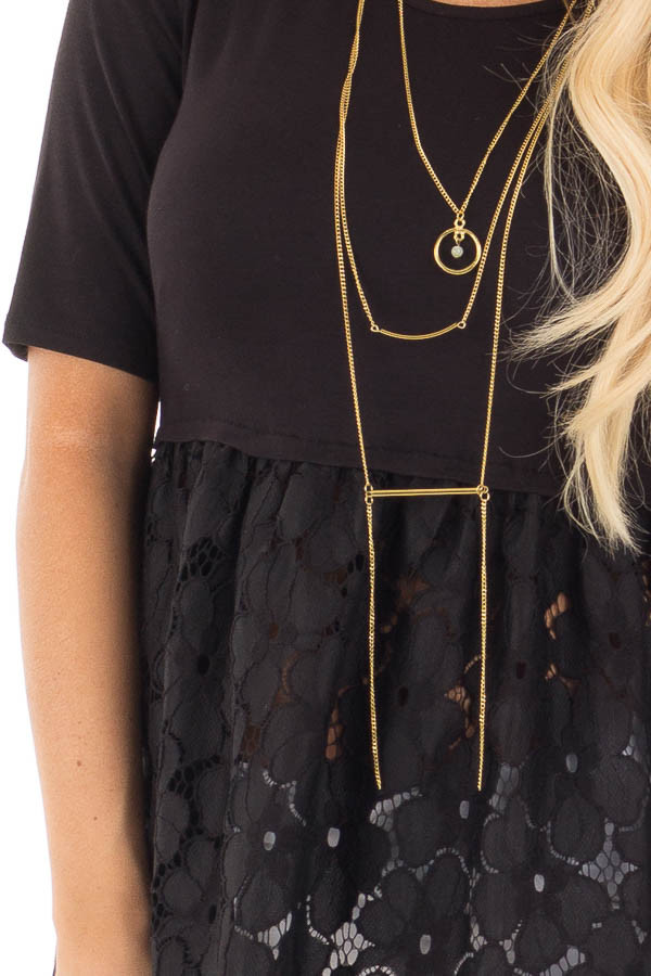 Black Baby Doll Tunic with Floral Crochet Contrast detail