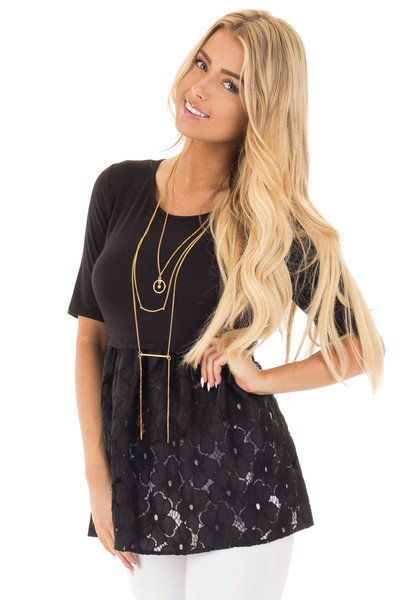 Black Baby Doll Tunic with Floral Crochet Contrast front close up